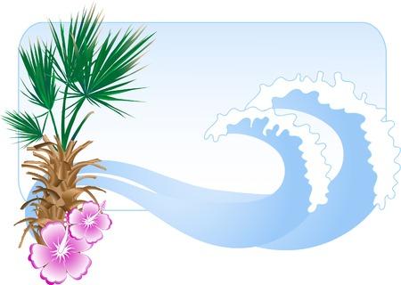Summer beach in frame - vector illustration Vector