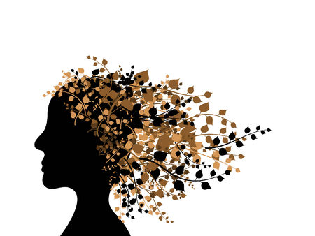 Woman head silhouette with autumn leaves Vector