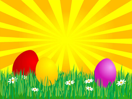 Easter eggs in the grass Stock Vector - 4593276