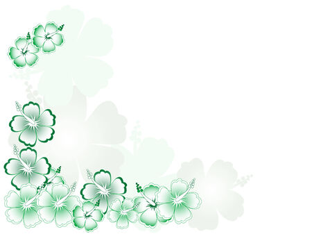 flora vector: Abstract green background with hibiscus