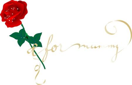 mamma: Rose for mummy - vector illustration