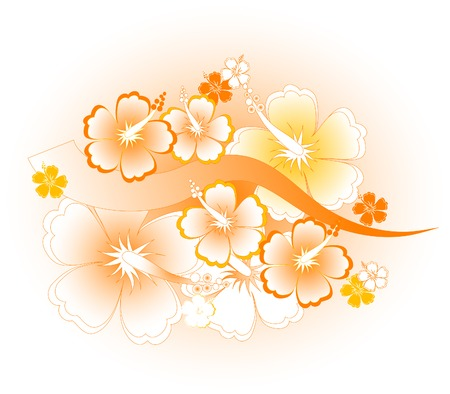 Abstract floral background con ibiscus Vettoriali