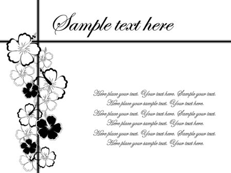 page border: Abstract floral background with hibiscus