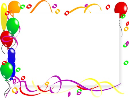 party streamers: Party background with colorful balloons Illustration