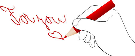 Hand with pencil draw for you - vector illustration Vector