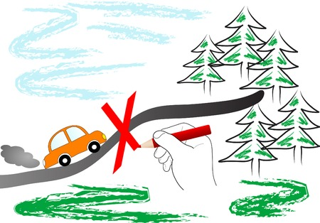 injunction: Go by car into wood forbidden
