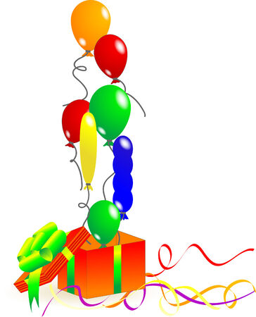 Gift box with colorful balloons Vector