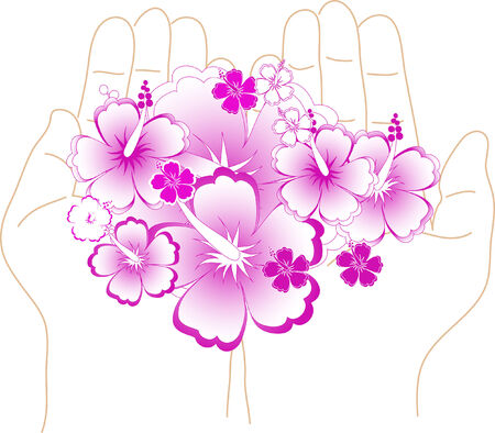 Rose hibiscus in the palms Vector