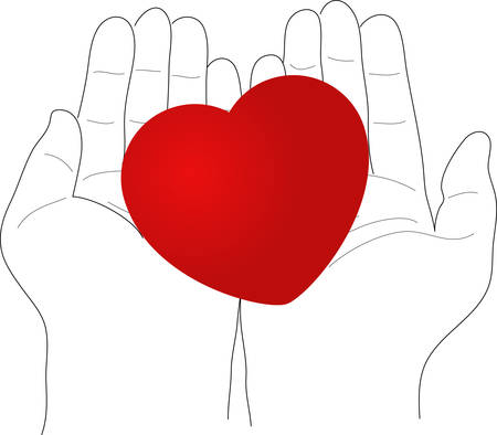 Heart on the palms - vector illustration Vector