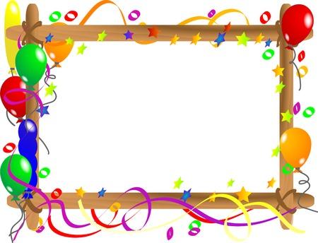verjaardag frame: Houten frame met kleurrijke ballonnen Stock Illustratie