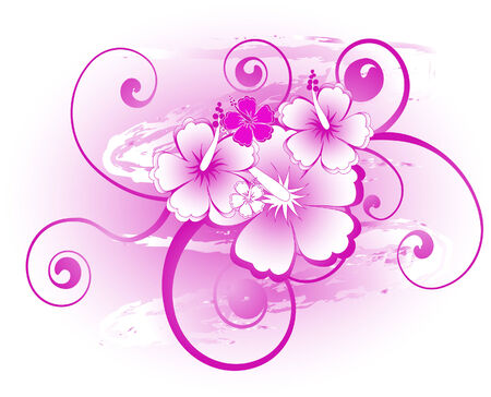 Abstract floral background with hibiscus
