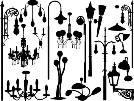 lamp silhouette: Vector illustration of chandeliers and lamps