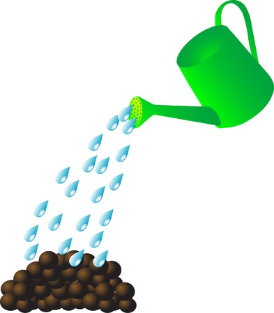 Watering can water the earth Vector