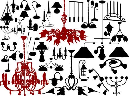lightening: Ilustraci�n vectorial de candelabros y l�mparas Vectores