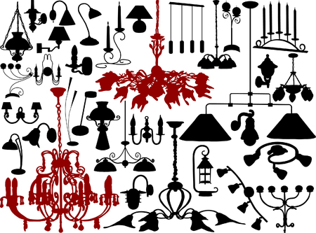 Vector illustration of chandeliers and lamps Vector
