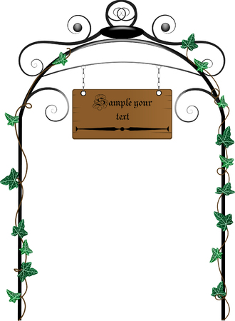 Wooden signboard hanging on the gate Vector