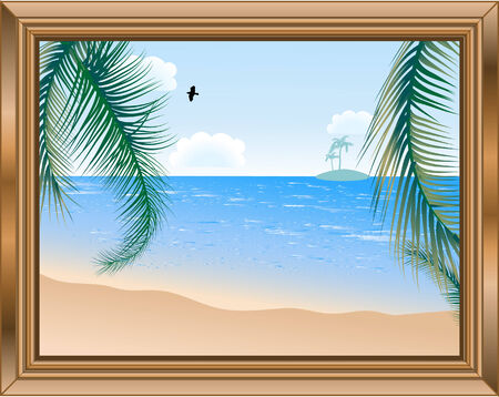 Wooden frame with beautiful beach Vector