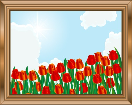 Wooden frame with field of tulips Vector