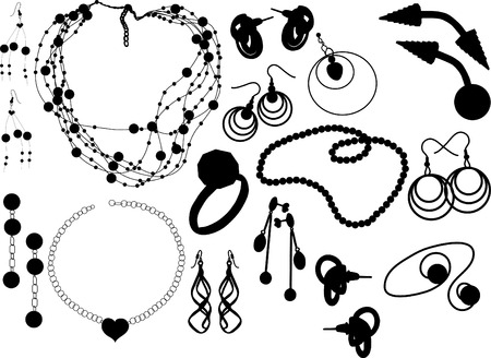 Silhouettes of the various jewellery