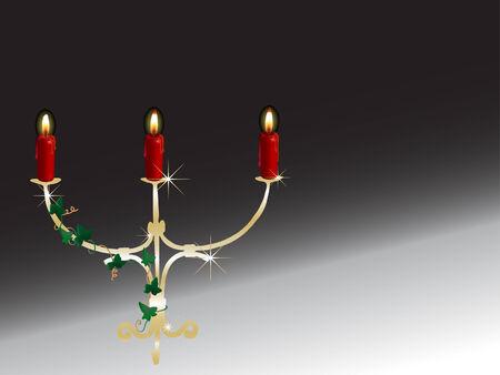 candlestand: Golden candlestick behind the black background