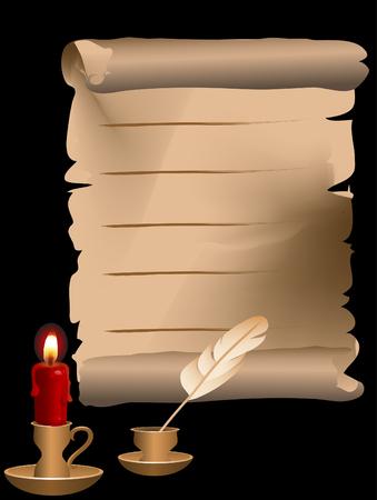 lettre de feu: Derri�re le chandelier d'or sur fond noir