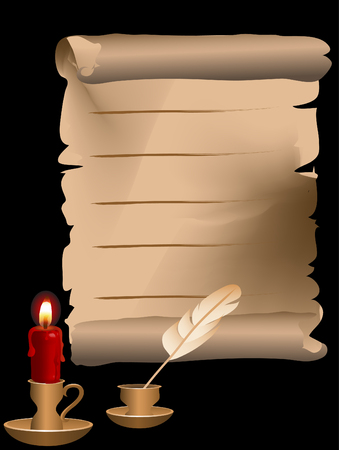Golden candlestick behind the black background Vector