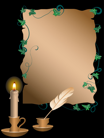 inkwell: Golden candlestick and parchment behind the black background Illustration