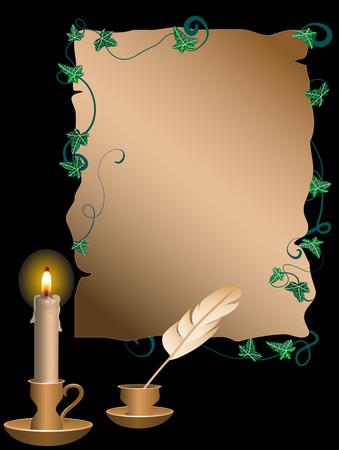 Gouden kandelaar en perkament achter de zwarte achtergrond Vector Illustratie