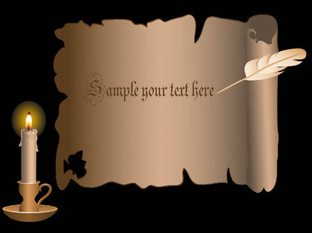 candlestand: Golden candlestick and parchment behind the black background Illustration