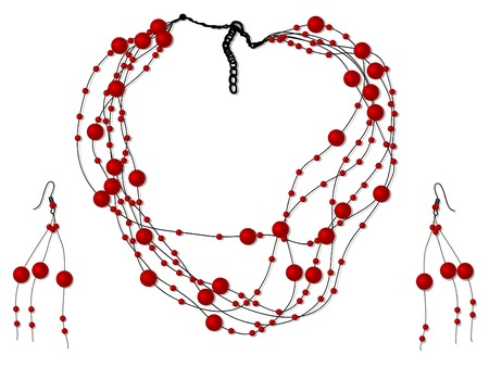 choker: Vector illustration of necklace with red pearls