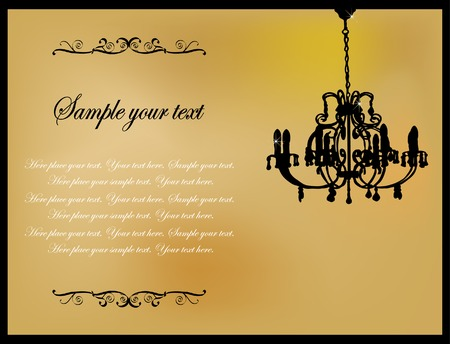 Golden card with antique chandelier Stock Vector - 5253815