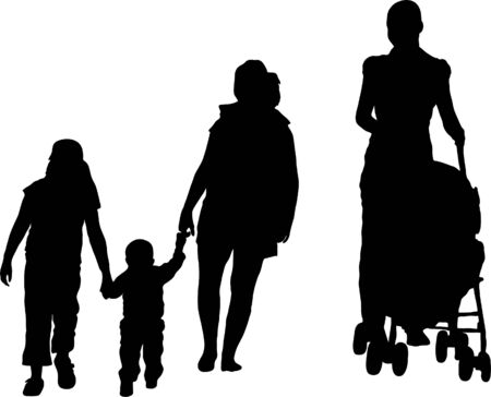 mammy: Silhouette of mother with buggy and kids