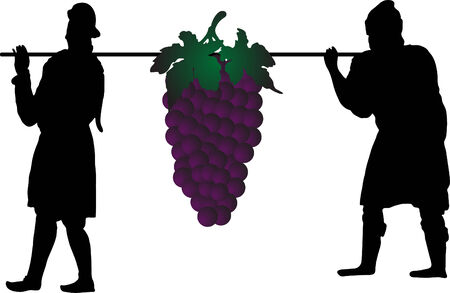Vector silhouettes of two men with grape Vector