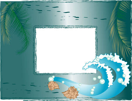 Vector photo frame with palm and waves Vector