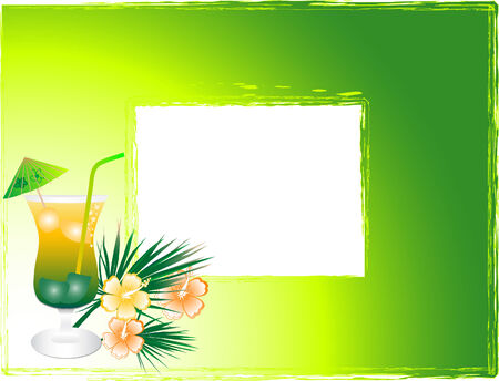 Vector photo frame with the drink Vector