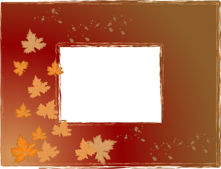 Autumn photo frame with leaves Vector