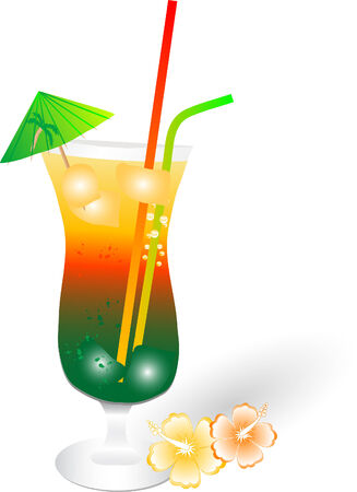 long drink: Bebida tropical mixto - ilustraci�n vectorial