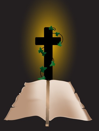 candlestand: Crucifix and scroll on black background Illustration