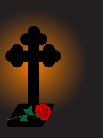 Cross and rose - vector illustration Vector