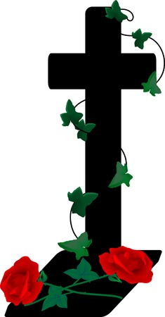 Cross and two roses - vector illustration Vector