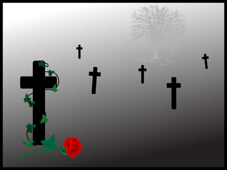 churchyard: Graveyard with the one cross with rose