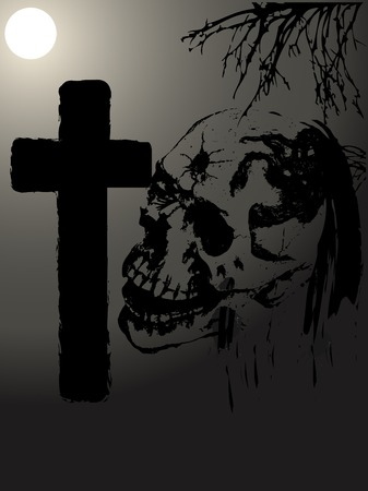 Grave and skull in the moonlight Vector