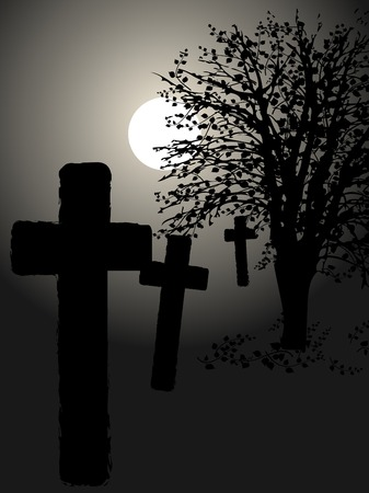 Graveyard and the tree in the moonlight Vector
