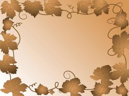 Autumn frame with grapevine leaves Vector