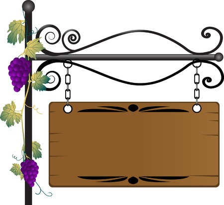 hag: Wooden signboard with grapevine twig Illustration