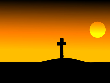 miserável: Cross in sunset - vector illustration