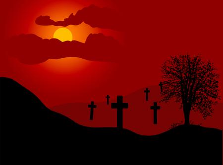 Graveyard in sunset - vector illustration Vector