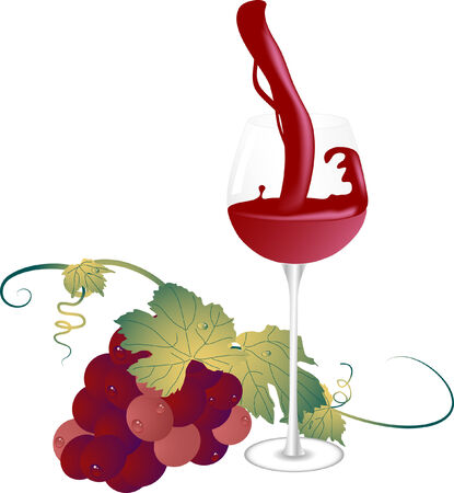 Glass and bunch of grapes - vector illustration Stock Vector - 5484481