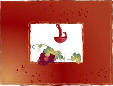 Frame with wineglass and bunch of grapes Stock Vector - 5484480