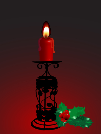 candlestand: Candlestick with twig of holly on dark background